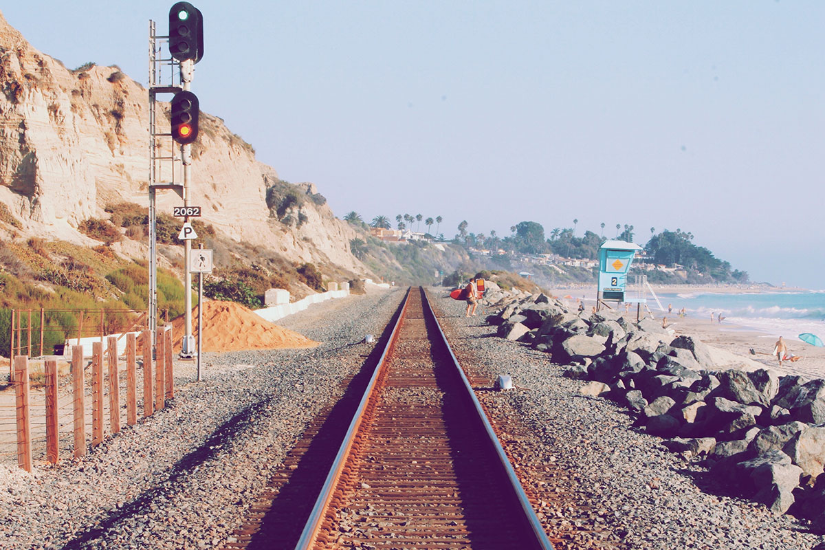 Great beach with train road